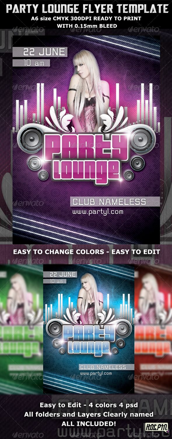 Party Lounge Flyer Template  Flyer Template Template And Print