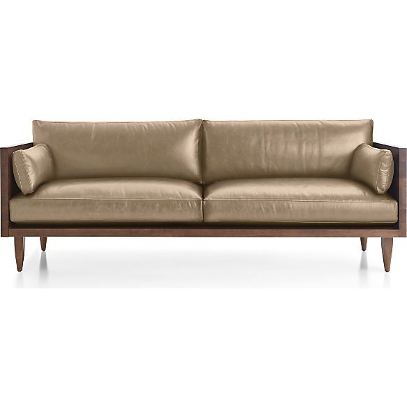Sherwood Leather 2 Seat Exposed Wood Frame Sofa Shown In Libby, Mushroom