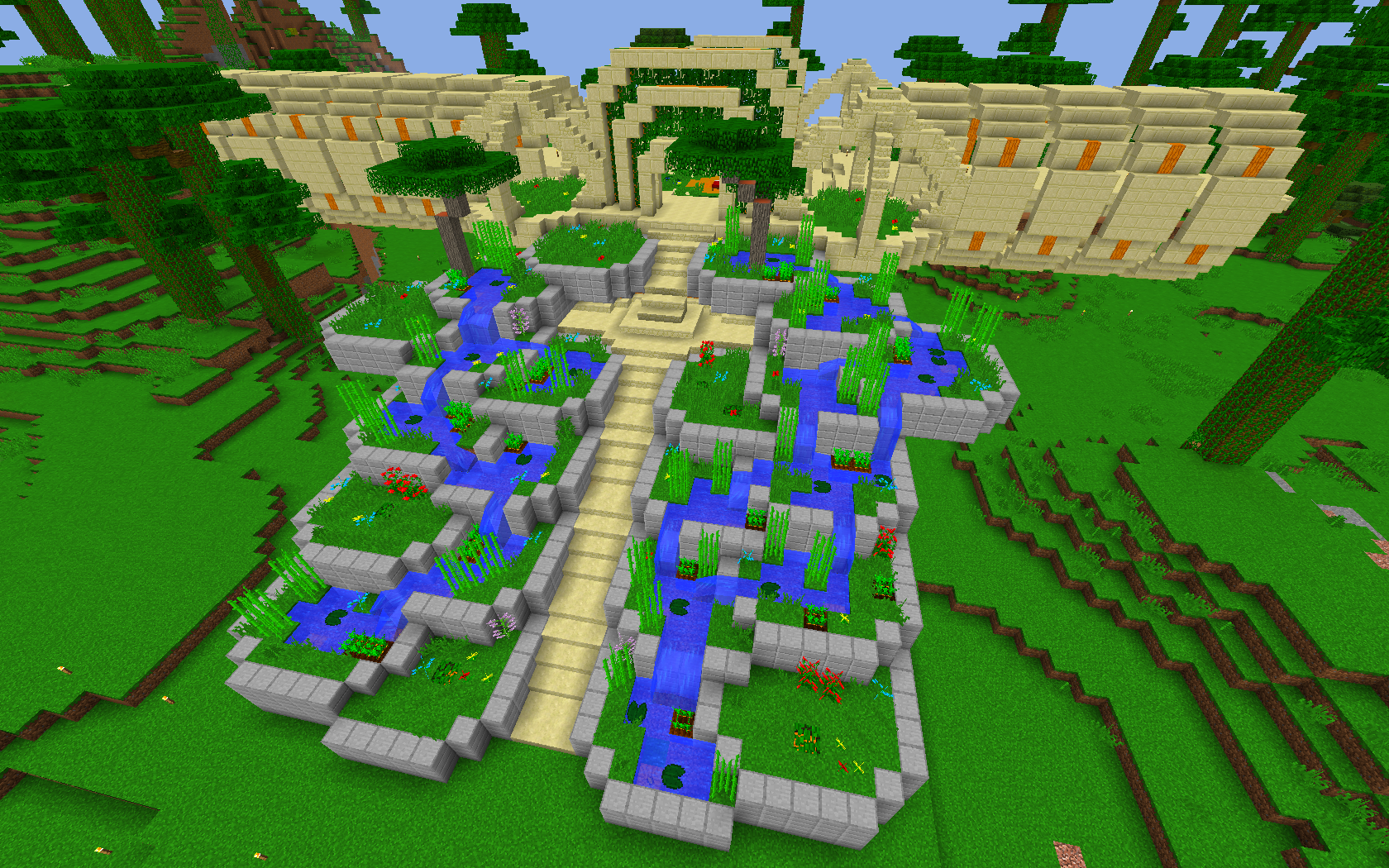 Further progress on terrace base pinterest minecraft for Minecraft base blueprints