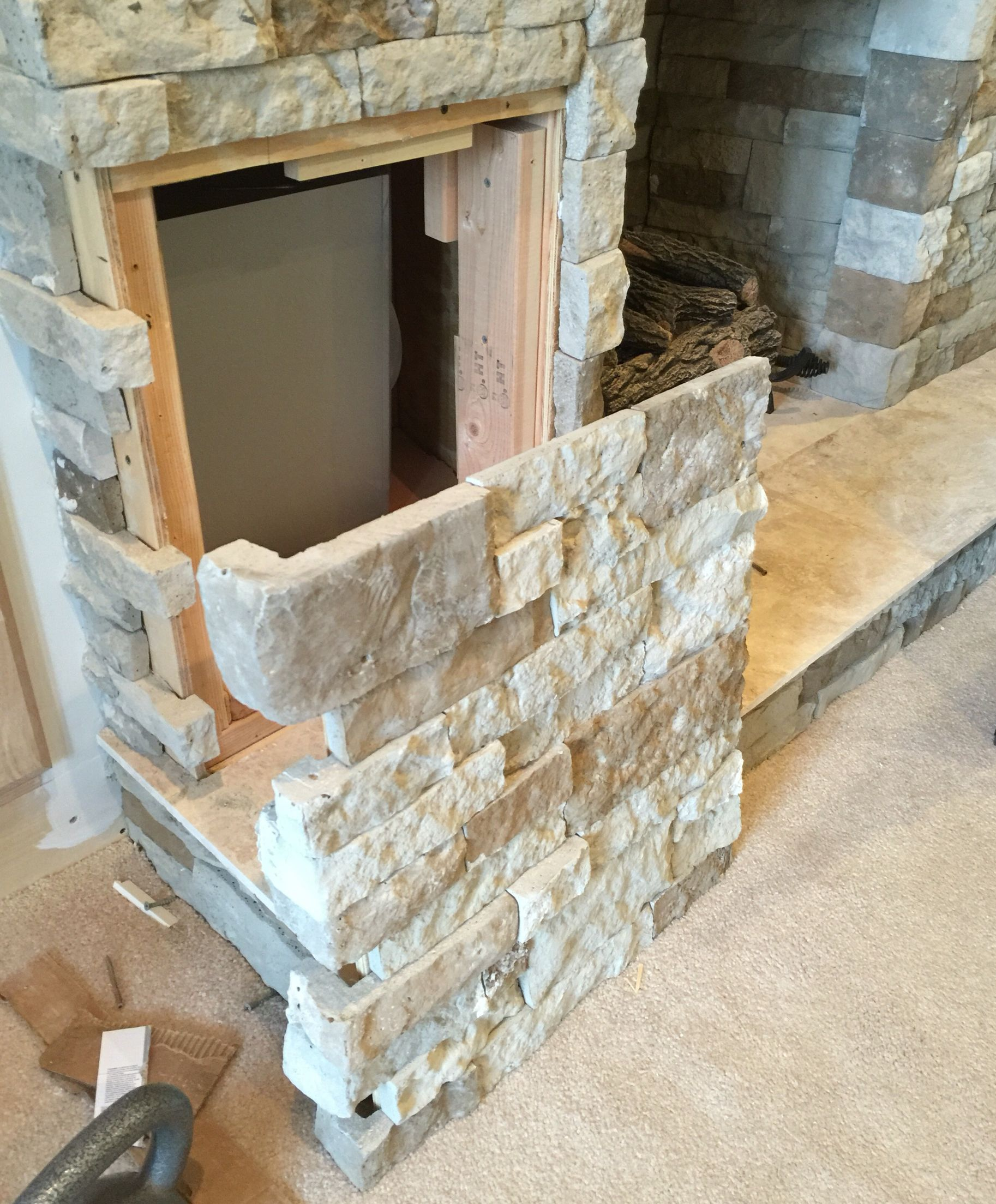 My subwoofer is embedded in the fireplace structure A section in