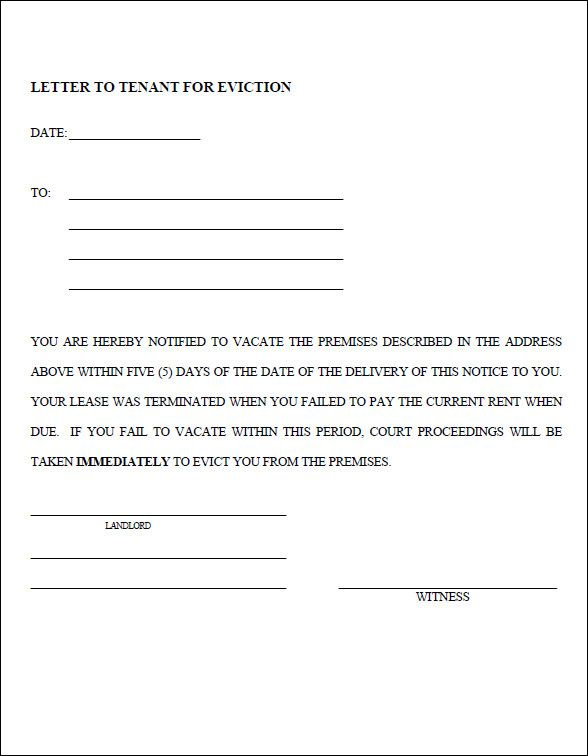 Eviction Notice Template PDF Ideas for the House Pinterest - how to write a letter of eviction