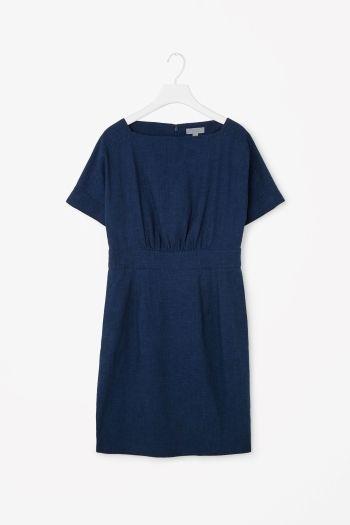Wide-neck denim dress