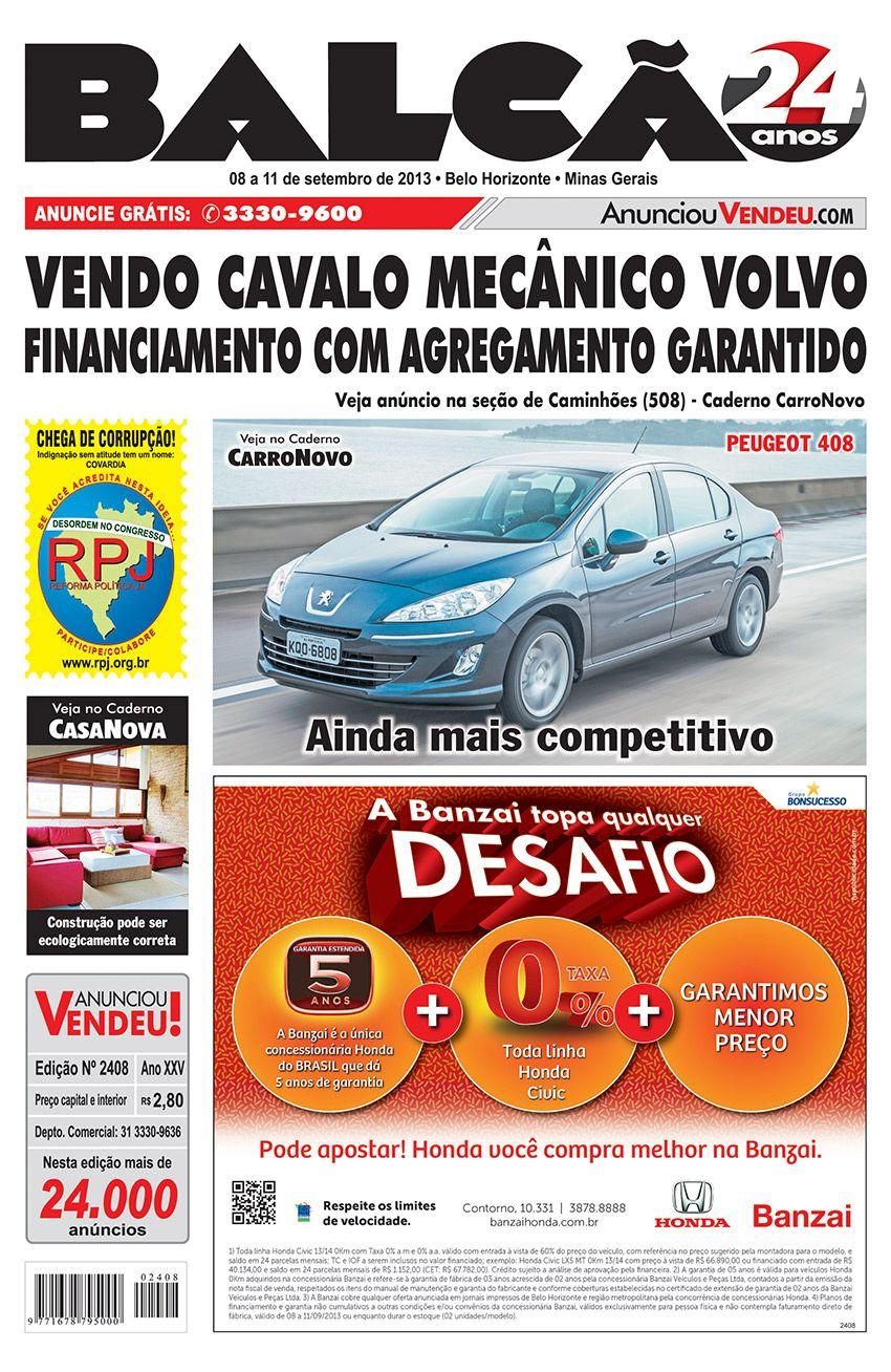Capa Jornal Balcão em circulação dos dias 08 a 11 de Setembro. #casanova #motonova #carronovo #apartamento #carro #seminovos #jornal #BH #peugeot #volvo #casa #banzai