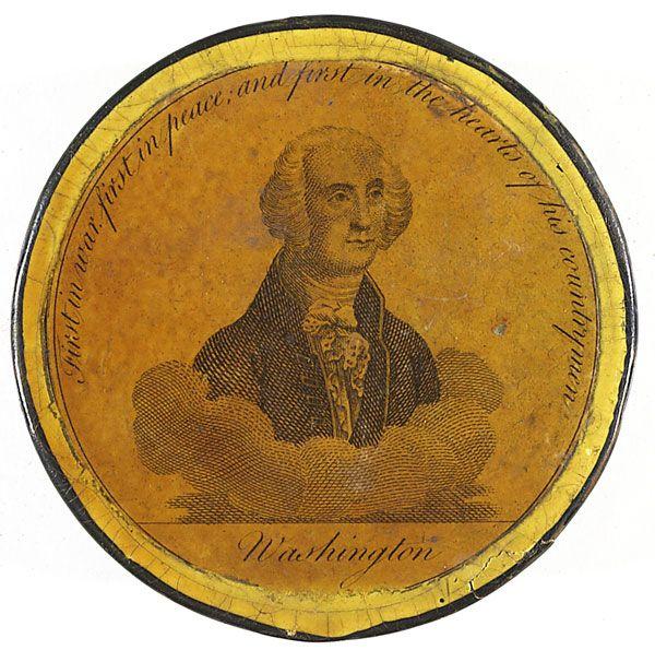 1800 S Colonial Scene On Demand: GEORGE WASHINGTON PAPIER MACHE SNUFF BOX (c.1800