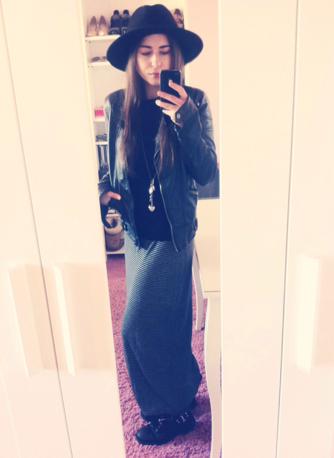 Zara hat, skirt, sweater and jacket River Island boots