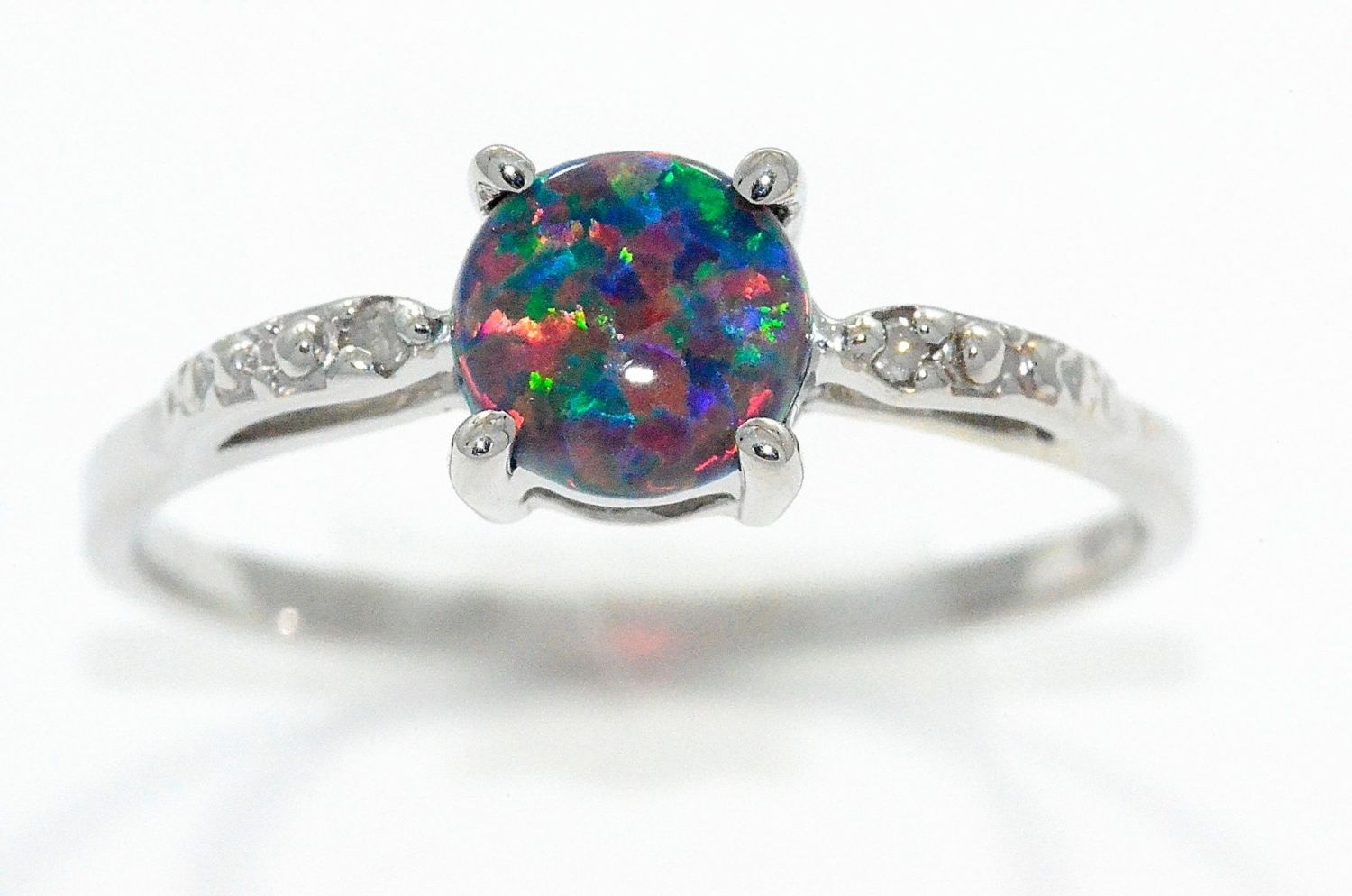 Black Opal Engagement Rings With Diamonds