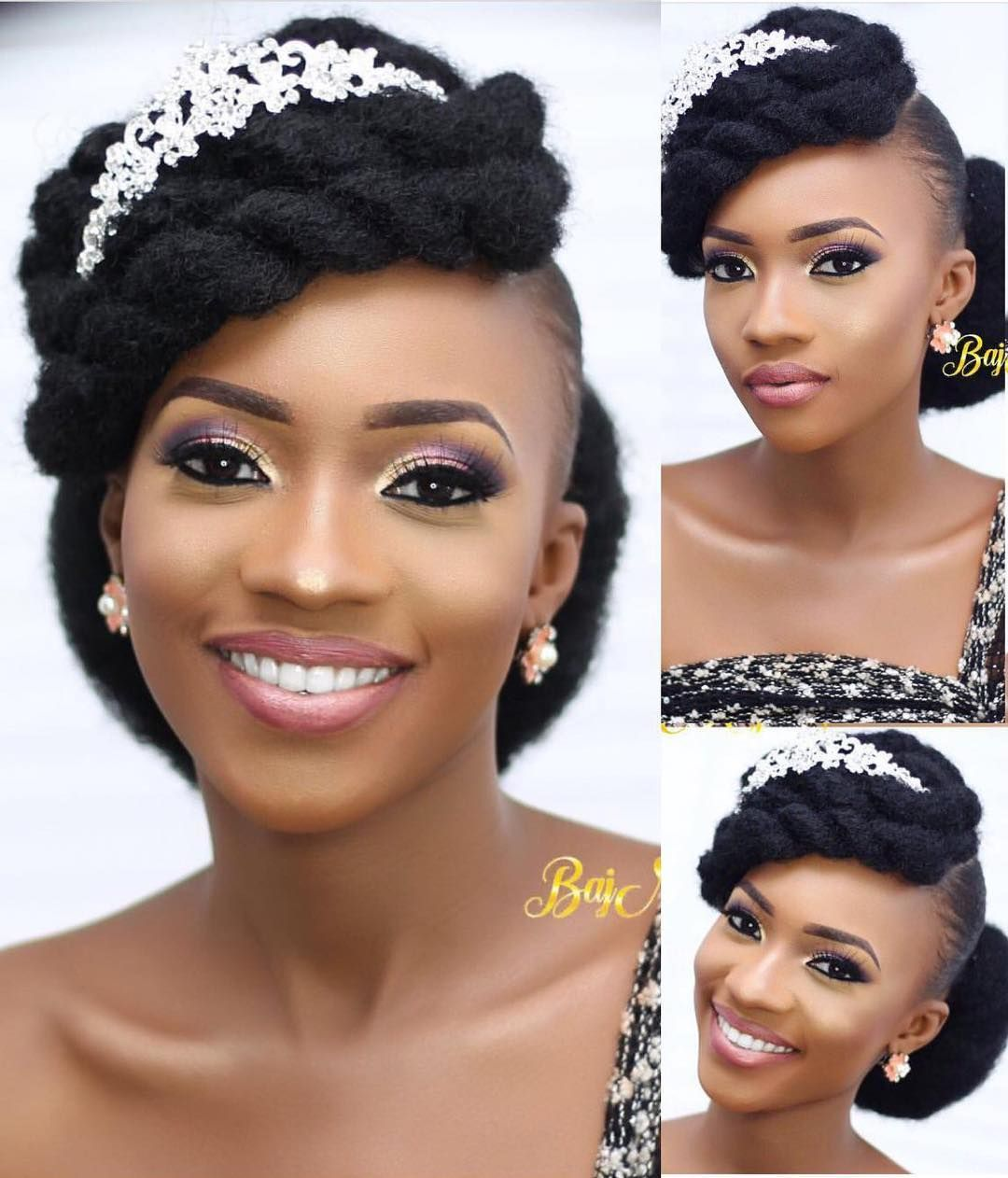 45 Charming Bride S Wedding Hairstyles For Naturally Curly: Cutie 😍😘 Makeup 💄 By @bajmajic 🙌🏾💯 #NigerianWedding In