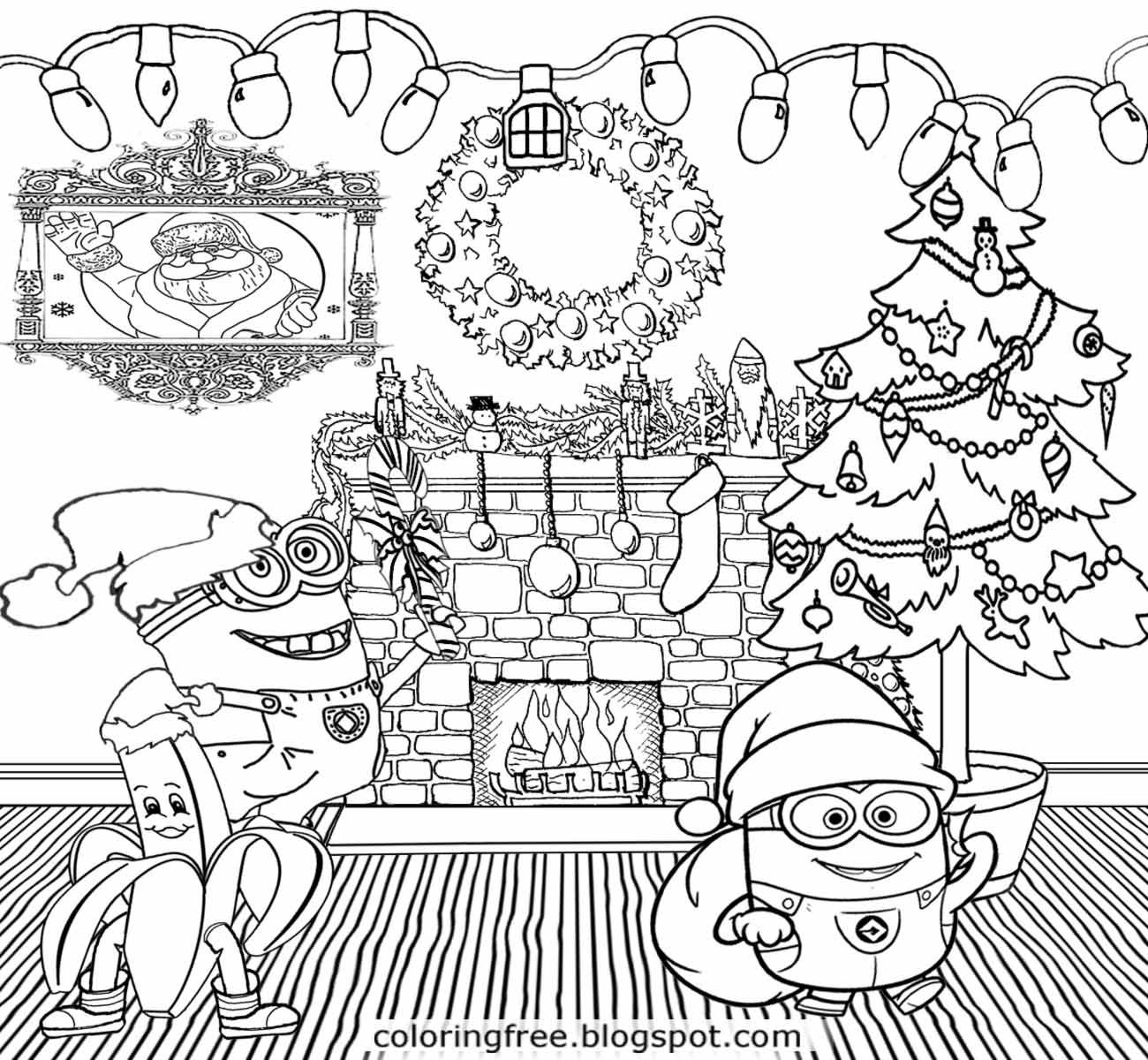 Holiday decorations merry Christmas Minions coloring pages cool