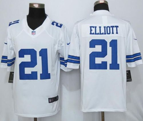 the latest 71cf9 4bf3a Nike Cowboys #21 Ezekiel Elliott White Men's Stitched NFL ...