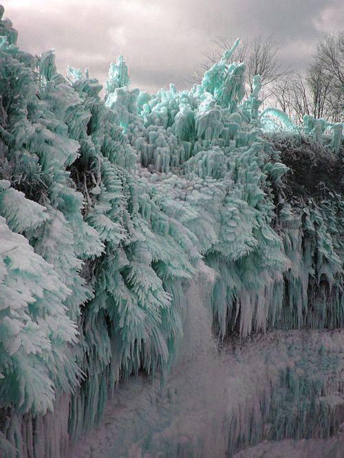 Ice Storm! Ontika Falls, near the city of Toila, Estonia. Rime ice covered forest