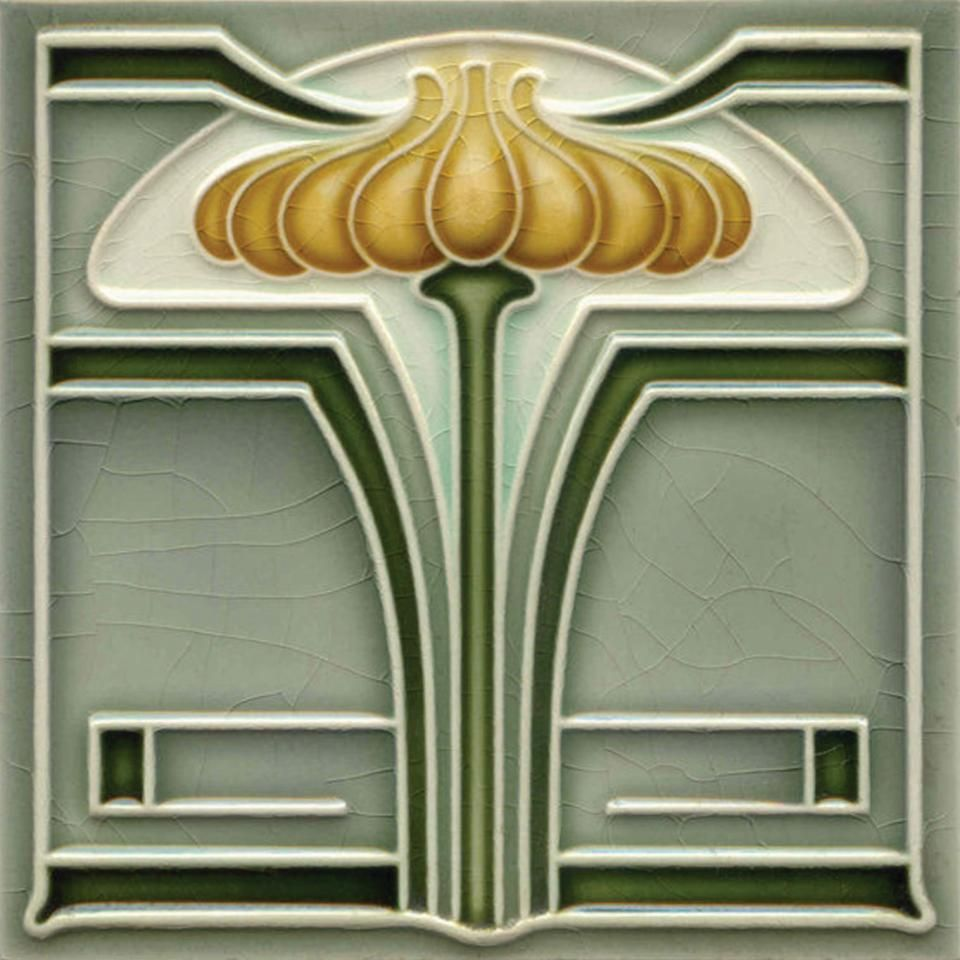 Art nouveau stylised geometric ceramic tile ref 011 art