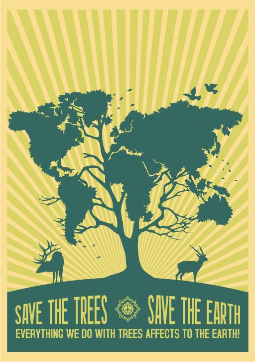 Earth Tree By Racuntikus On Deviantart Earth Day Posters World Map Decal Global Warming Poster