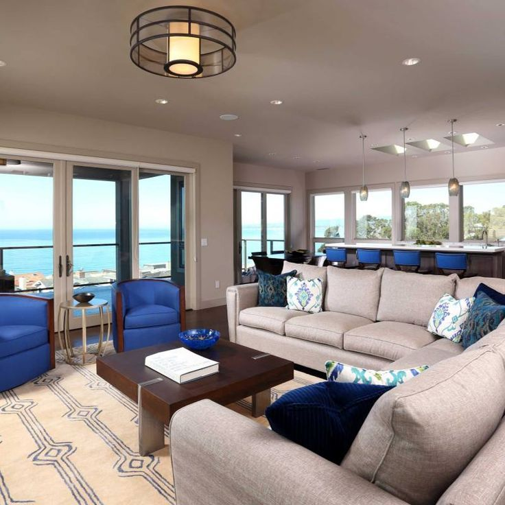 Best Room Redo Bright Blue Accent Living Room Black Leather 400 x 300