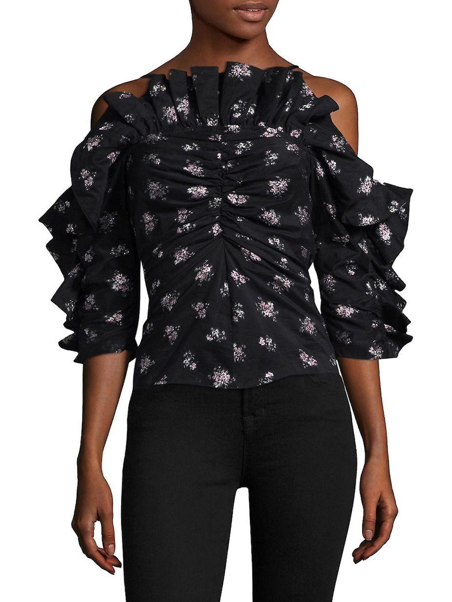 59aedb0dd0a61 Rebecca Taylor Floral Print Ruffled Cold-Shoulder Top ...