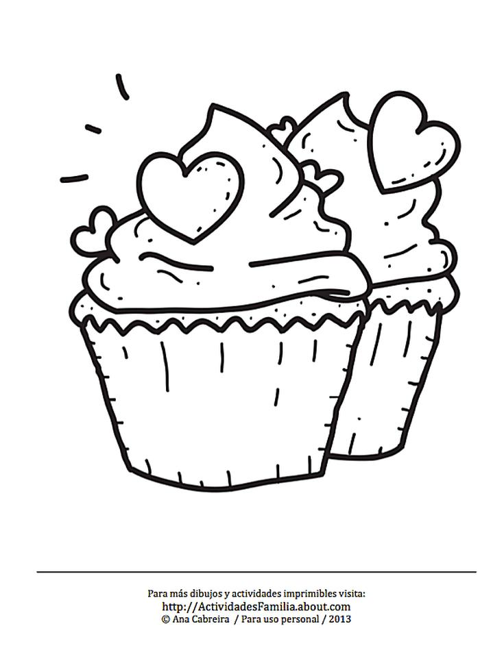 10 Dibujos De Corazones Para Imprimir Y Colorear Cupcake Con Corazones Dibujos De Cupcakes Corazones Para Imprimir Corazon Para Colorear