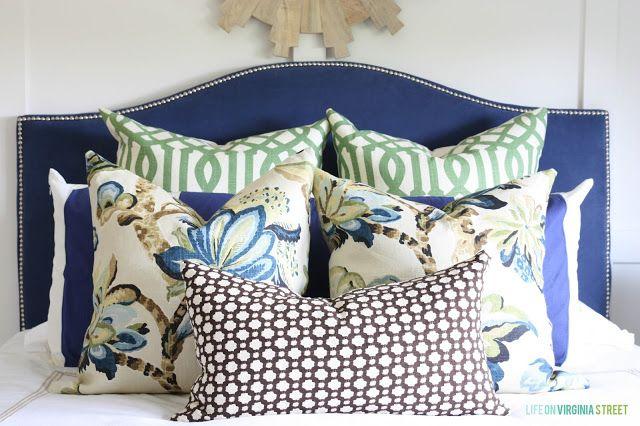 Guest Bedroom With A Blue Headboard Blue Headboard Blue