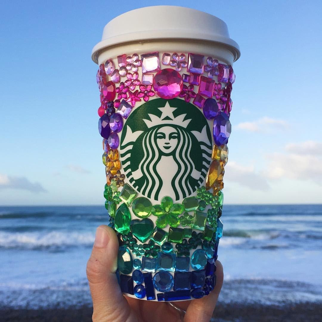 2 reusable starbucks cup gemstones beach sunrise