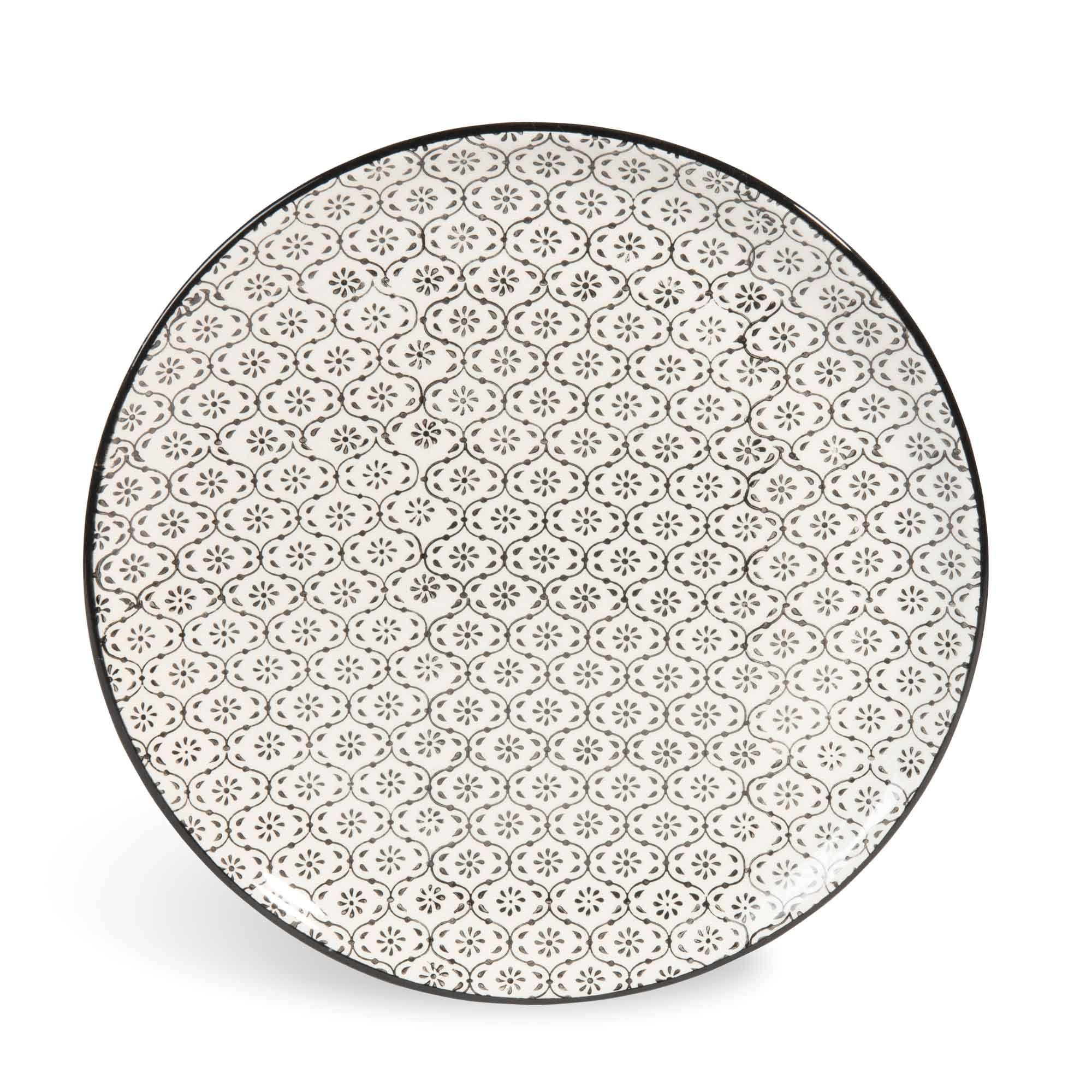 Assiette Plate En Faience Micromotif Noir Blanc D 27 Cm Chiang Mai Maisons Du Monde Geschirr Keramik Besteck