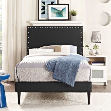 Modway Phoebe Queen Leatherette Platform Bed with Round Tapered Legs ...