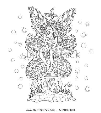 Fairy girl sitting on the mushroom. Zentangle stylized cartoon isolated on white background. Hand drawn sketch illustration for adult coloring book, T-shirt emblem, logo or tattoo, design elements.