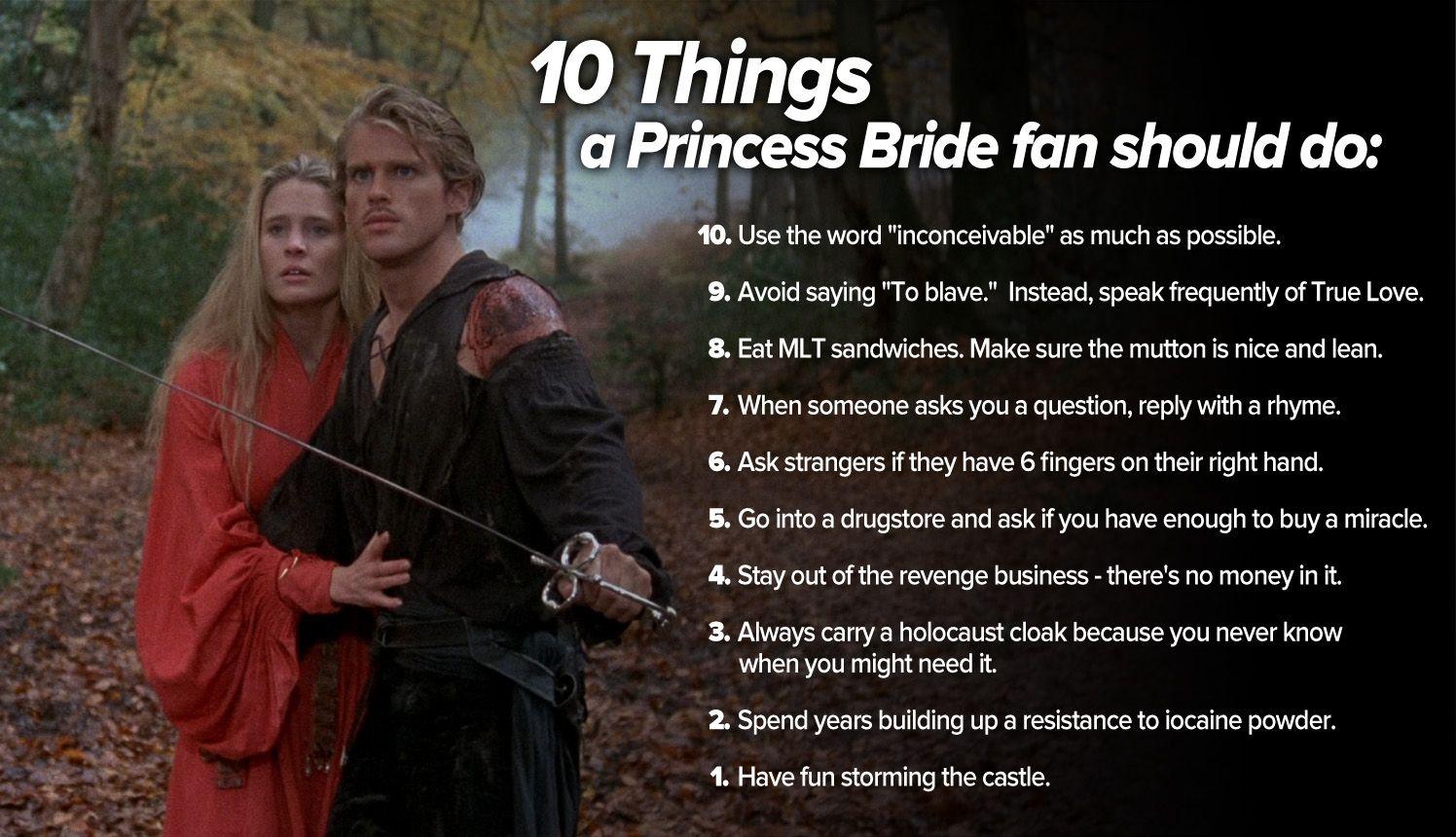 10 Things Every Princess Bride Fan Should Do Princess