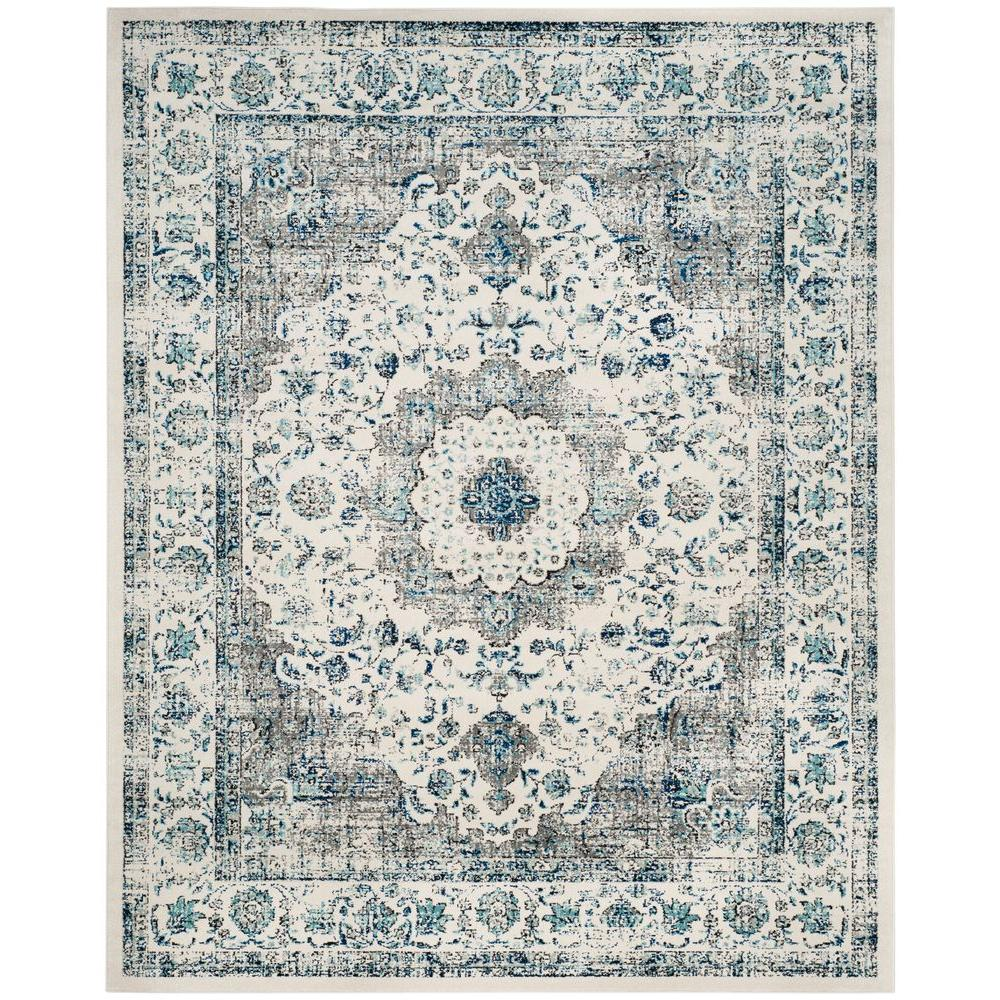 Safavieh Evoke Gray Ivory 8 Ft X 10 Ft Area Rug Evk220d 8 The Home Depot In 2020 Square Area Rugs Area Rugs Vintage Area Rugs