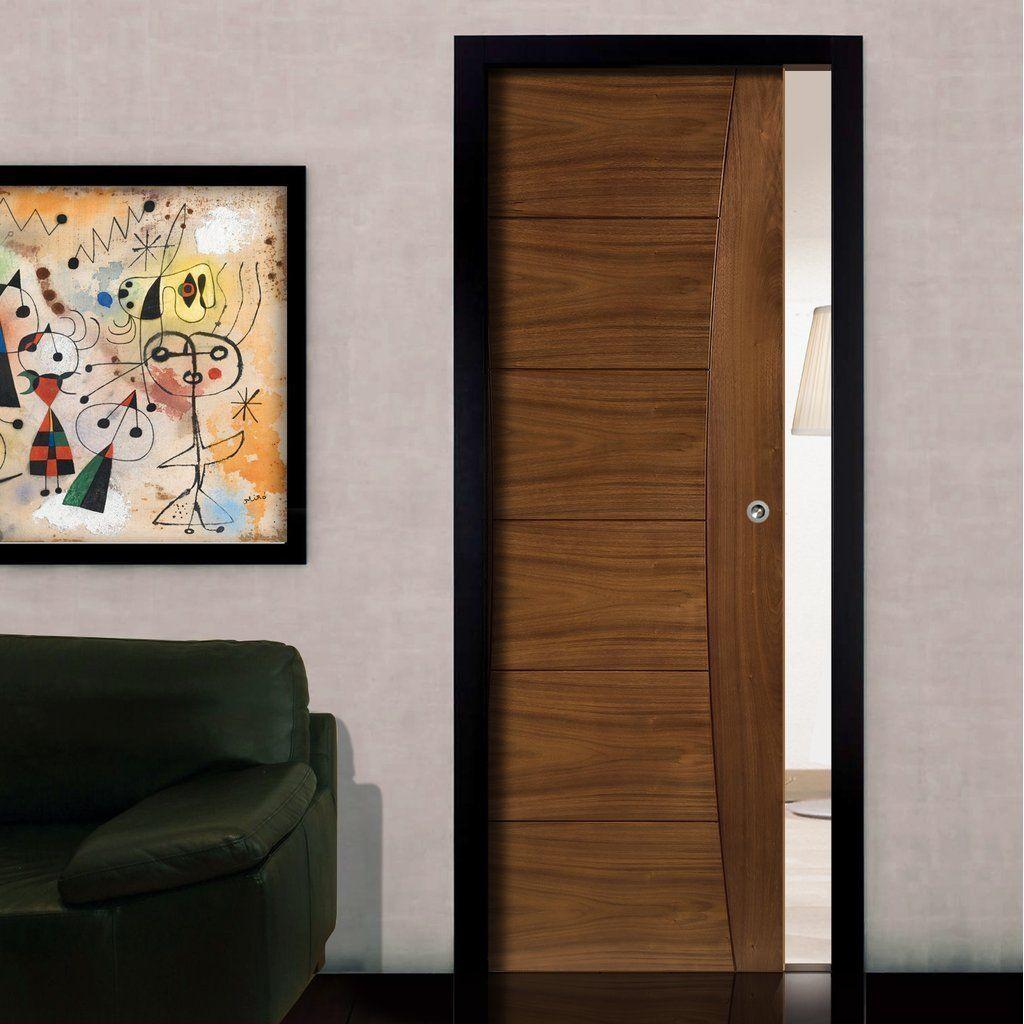 Pamplona Walnut Evokit Pocket Fire Door 1 2 Hour Fire Rated Prefinished Pocket Doors Fire Doors Contemporary Doors