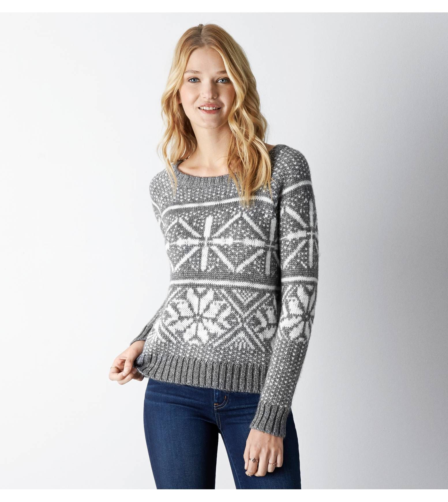 Silver AEO Shimmery Fair Isle Sweater | Pretty things to wear ...