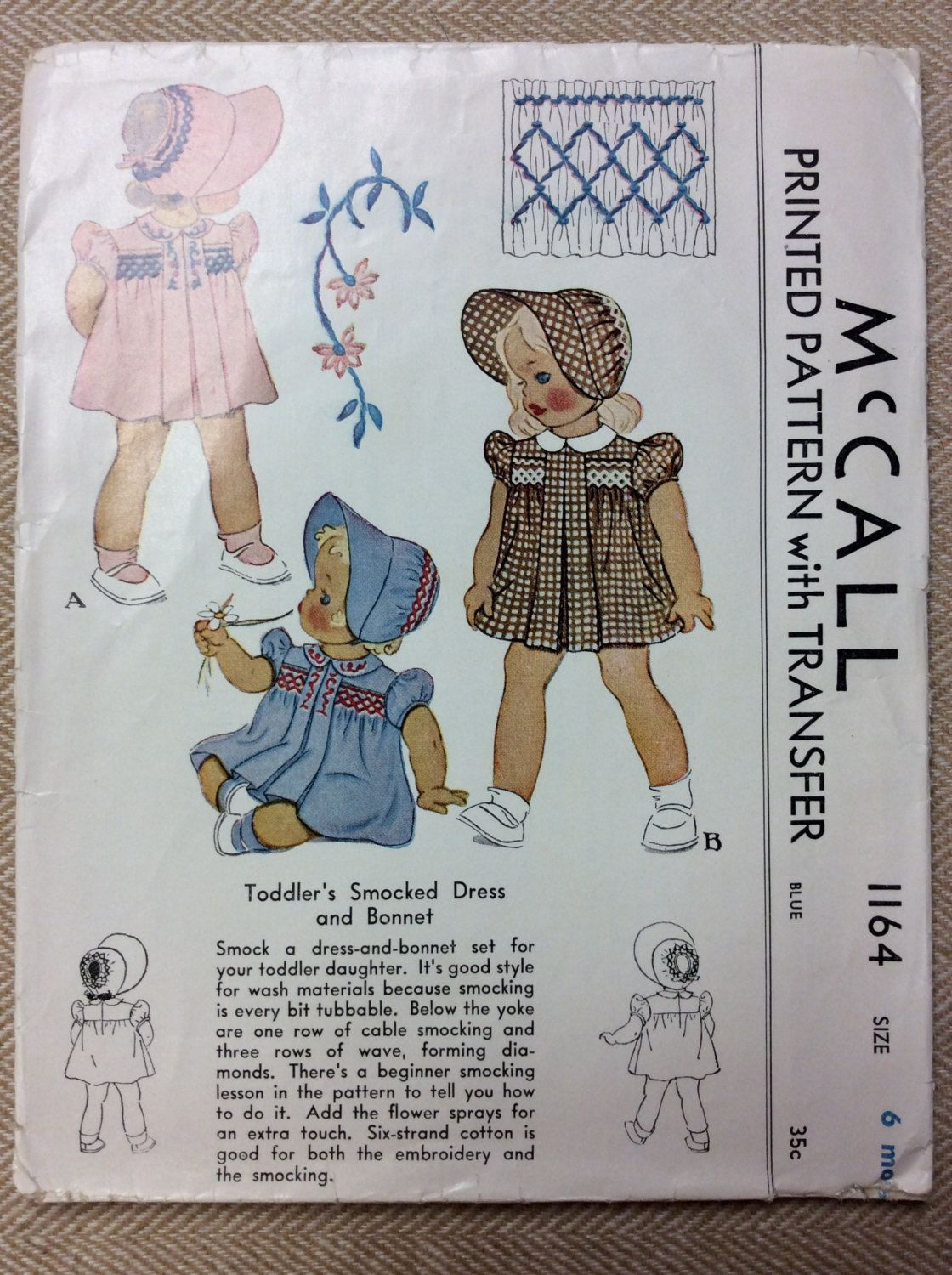 Vintage McCalls Printed Pattern 1164 TODDLERS SMOCKED DRESS AND BONNET This is a very cute little toddler sewing Pattern. The vintage McCalls