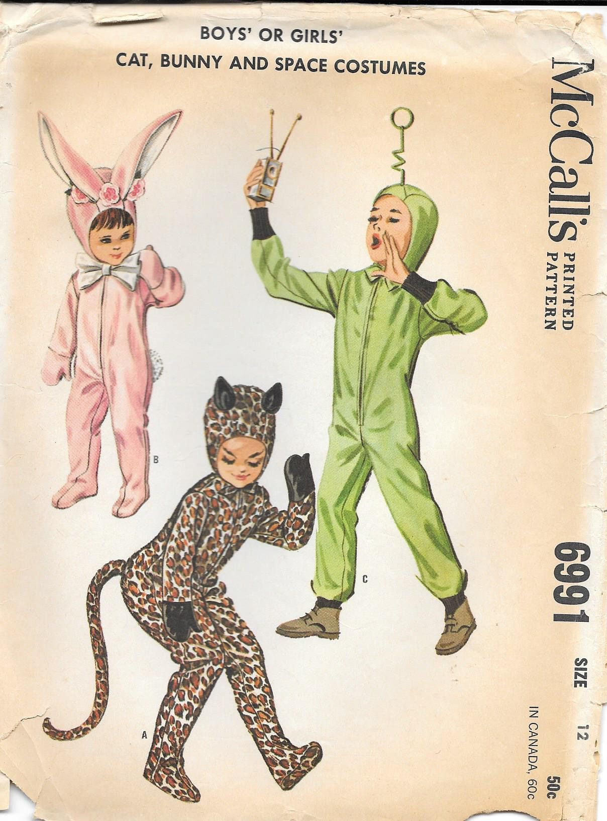 Mccall Patterns Halloween 2020 1960s McCalls 6991 Kids Costumes Vintage Sewing Pattern Size