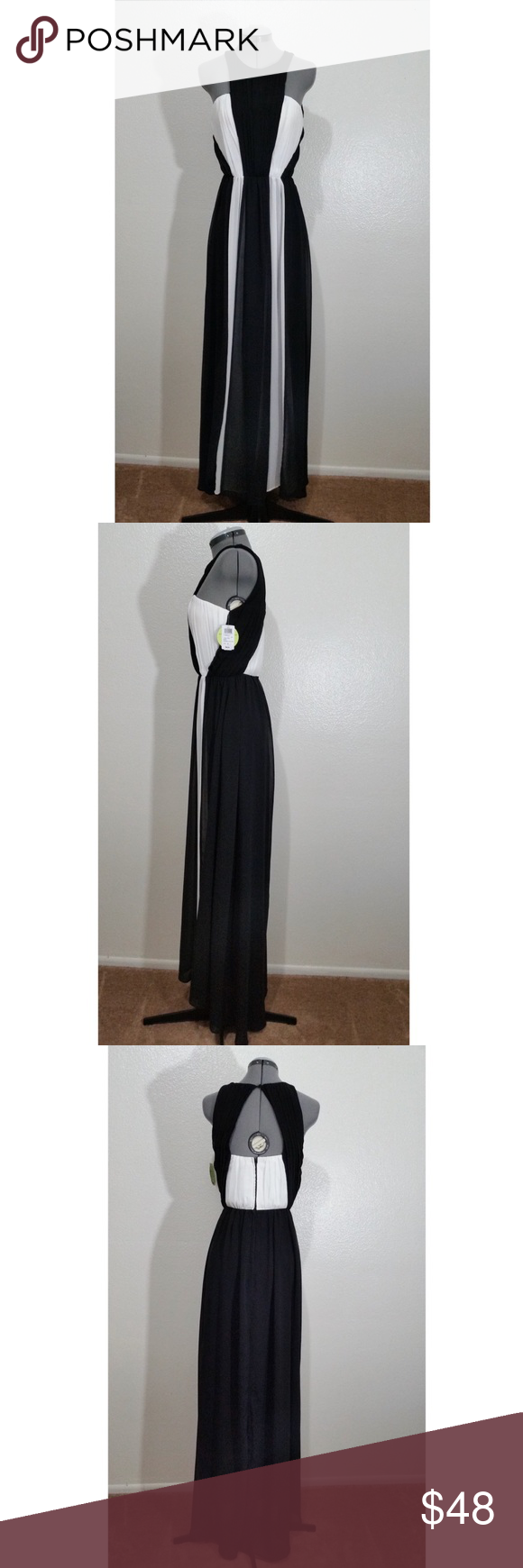 Windsor solid black and white formal dress nwt white formal