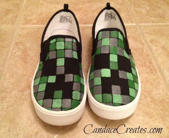 Diy Minecraft Shoes Candace Playforth Minecraft Shoes Diy Minecraft Creepers Shoes
