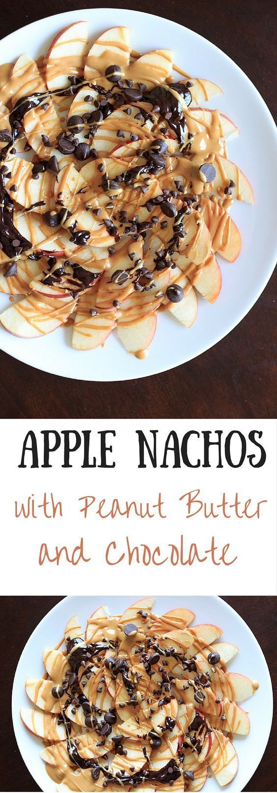 Apple nachos with peanut butter and chocolate - 5 minutes, vegan, gluten-free, delicious