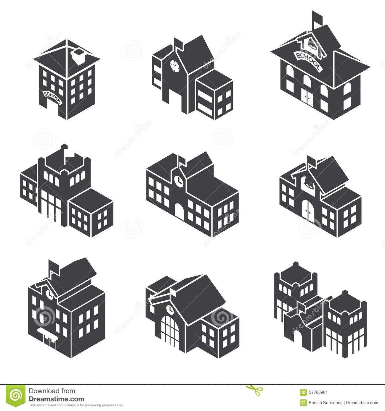 School Building 3d Isometric Stock Vector Image