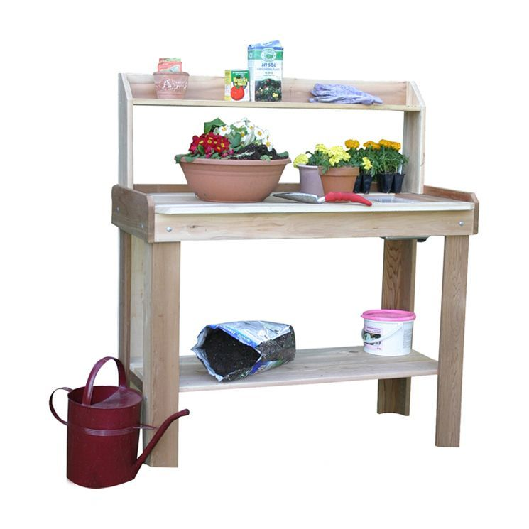 Wood Potting Bench in Natural I