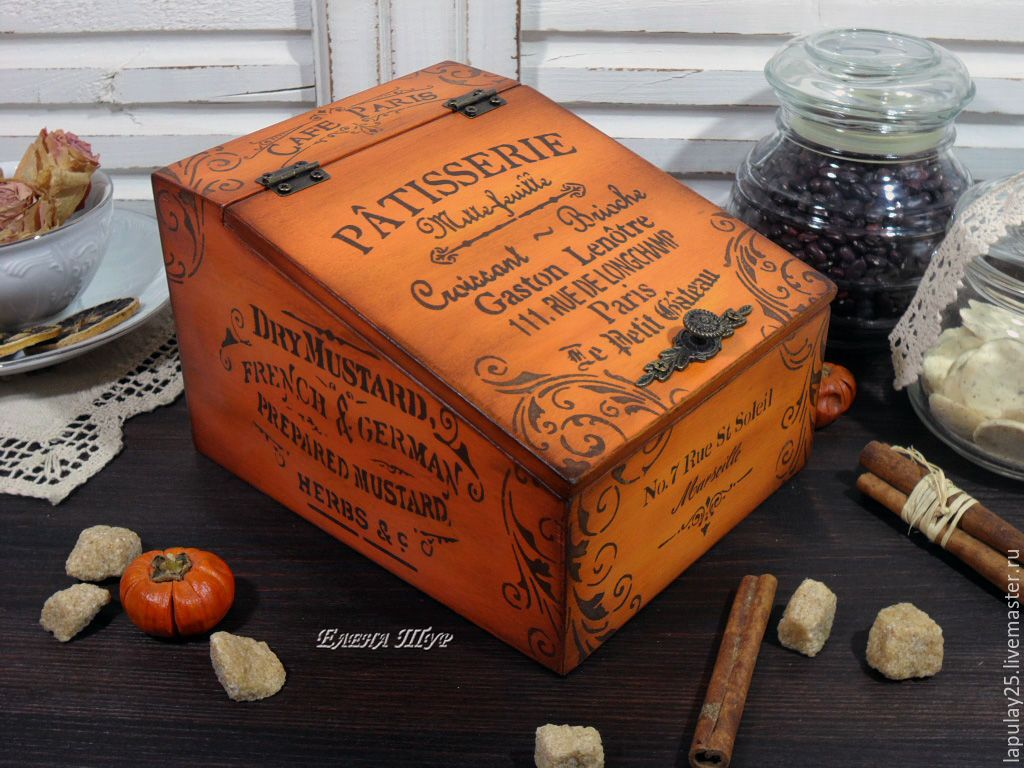 """Купить """"Patisserie"""" короб - рыжий, короб, короб для хранения, короб для кухни, короб для специй"""
