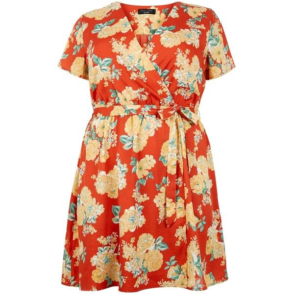 New Look Plus Size Red Floral Print Wrap Dress (€19) ❤ liked on Polyvore featuring dresses, red pattern, women plus size dresses, floral print dress, wrap dress, plus size dresses and print wrap dress
