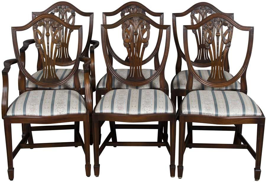 Six Shield Back Dining Chairs in Mahogany - Six Shield Back Dining Chairs In Mahogany Dining Chairs, Classic