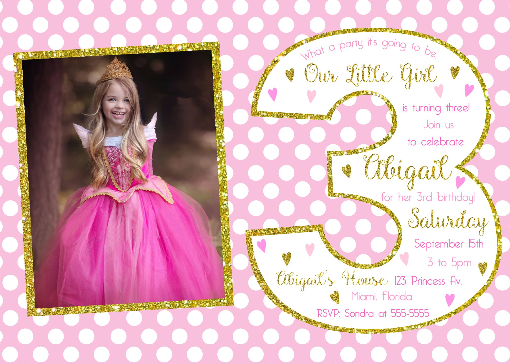 Custom Printable Girls Birthday Invitation Little Princess Pink /& Gold PolkaDots