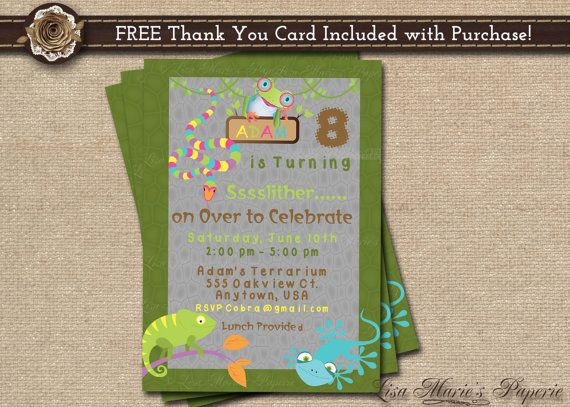 reptile birthday invitation birthday party invitation boy birthday