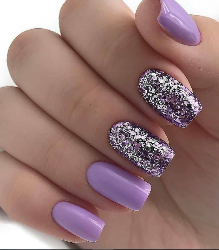 50 Cute Short Acrylic Square Nails Design And Nail Color Ideas For Summer Nails Page 45 Of 51 Latest Fashion Trends For Woman Purple Glitter Nails Purple Nails Nail Designs