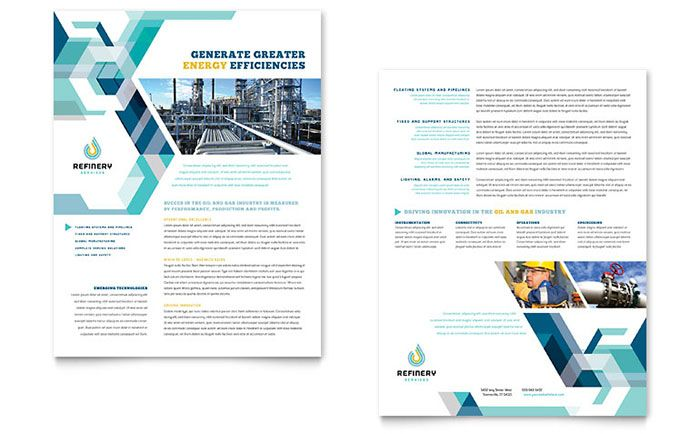 Oil And Gas Company Datasheet Template Design By Stocklayouts