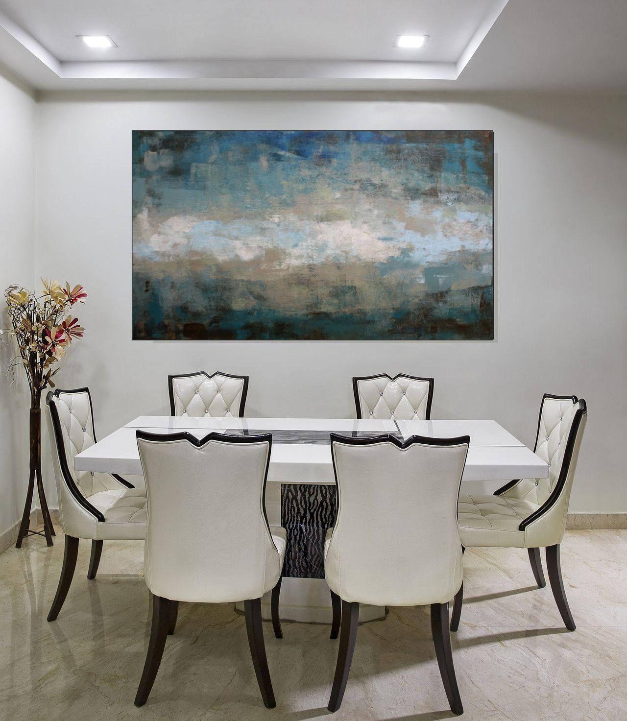 Large Art Original Abstract Painting Blue Green Neutral Wall Blue Wall Art Canvas Blue Abstract Painting Blue Wall Art