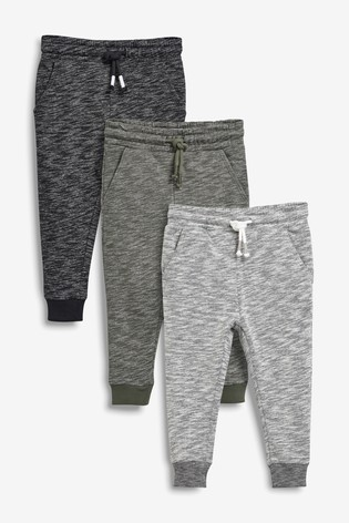 Next Natural/Grey/Blue 3 Pack Textured Joggers