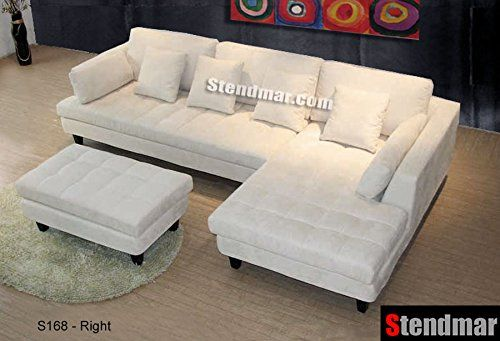 Cheap 3pc Fashionable Off White Microfiber Sectional Sofa Set S168rw Microfiber Sectional Sofa