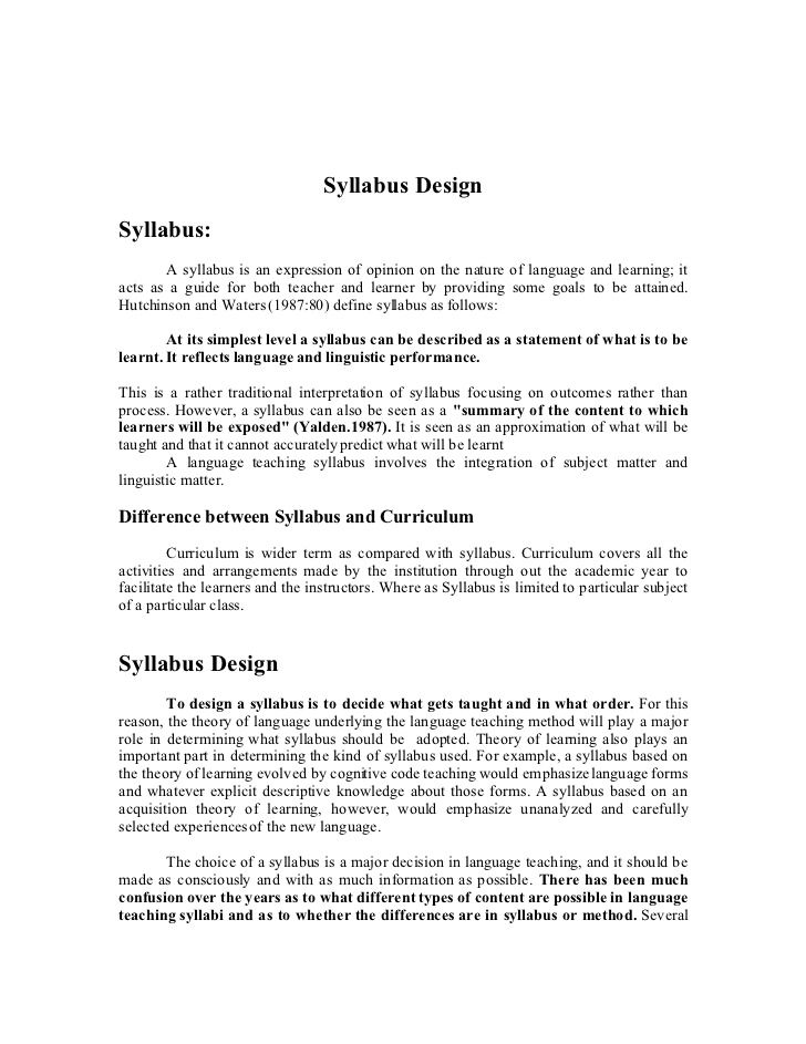 Syllabus Design Syllabus A Syllabus Is An Expression Of Opinion