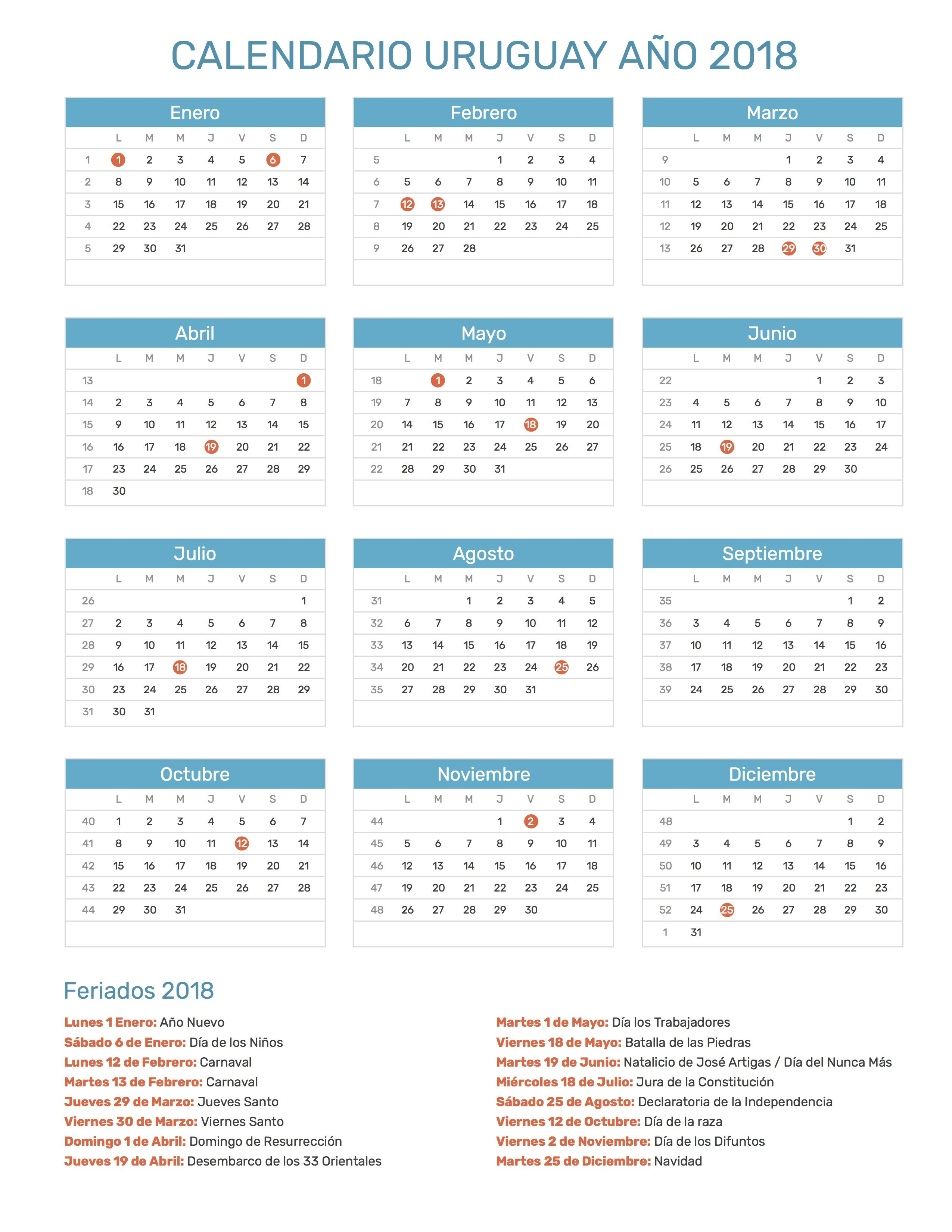 Calendario de Uruguay con feriados nacionales año 2018. Incluye ...