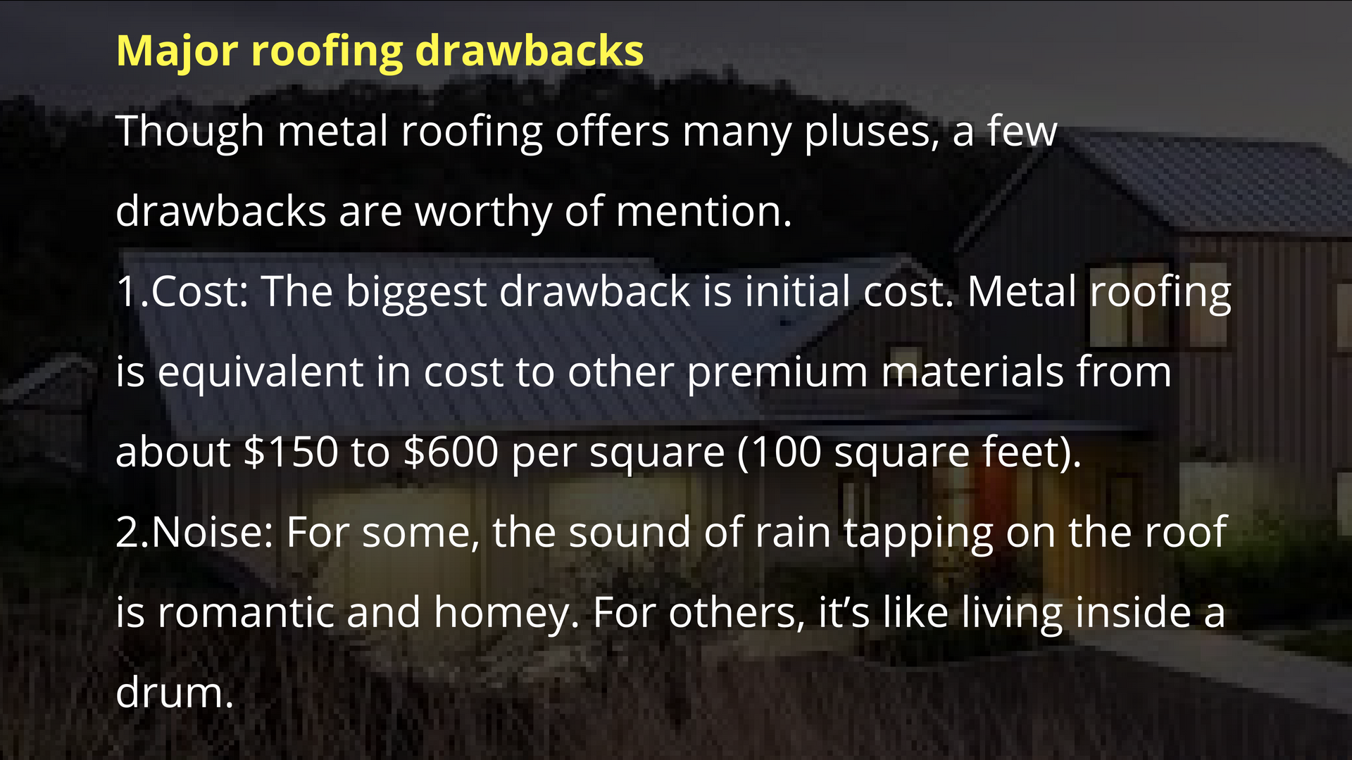 Pin By Accord Steel On Metal Roofing On Homes And Industries Pros And Cons Metal Roof Sound Of Rain Roofing