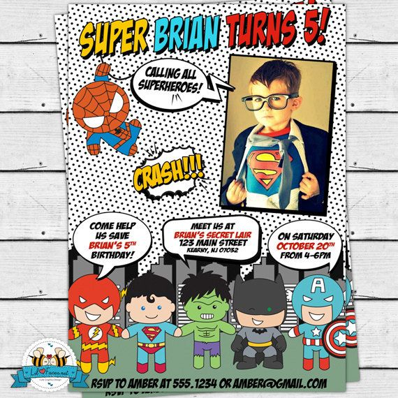POP ART SuperHero Photo Invitation - Invite Card - Super Hero Birthday Party - Comics Pop art -Personalized Printable pdf- IN-7