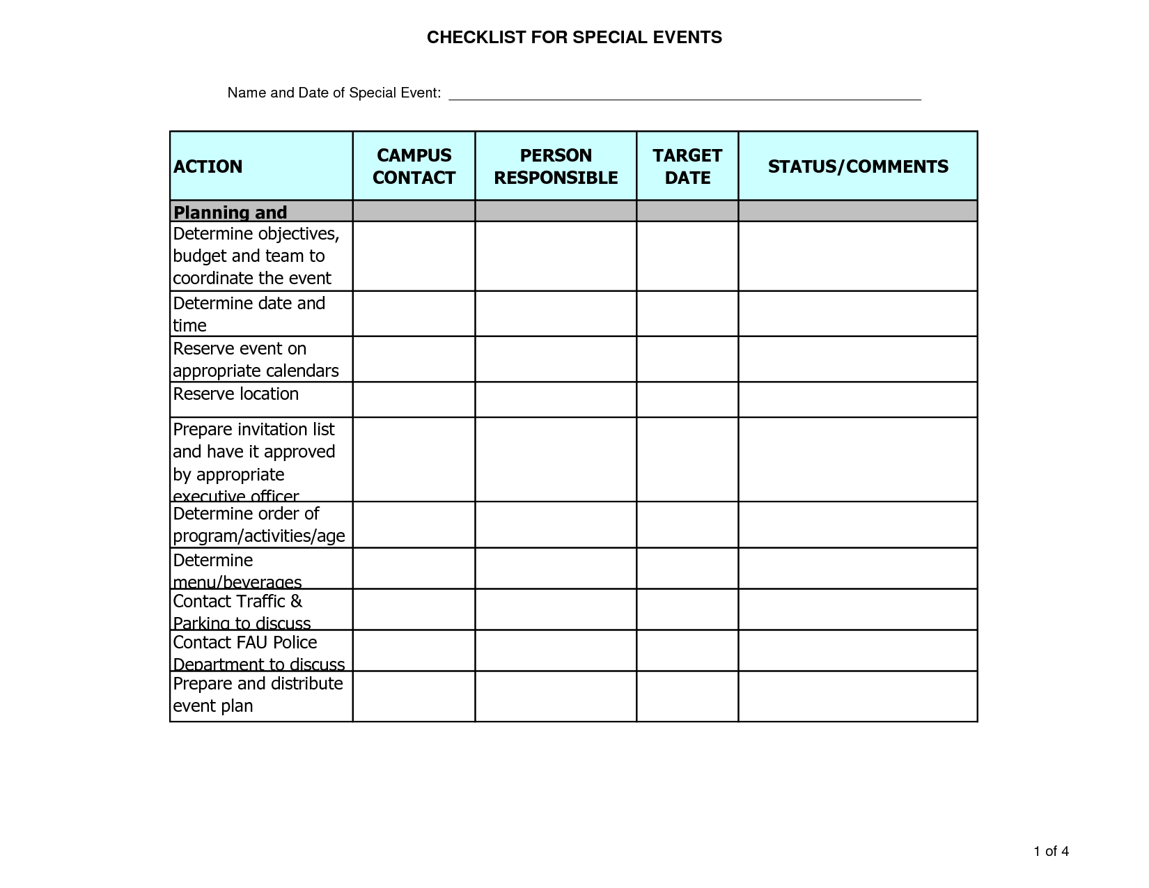 Calendar Organization Questionnaire : Party planner template event planning budget excel